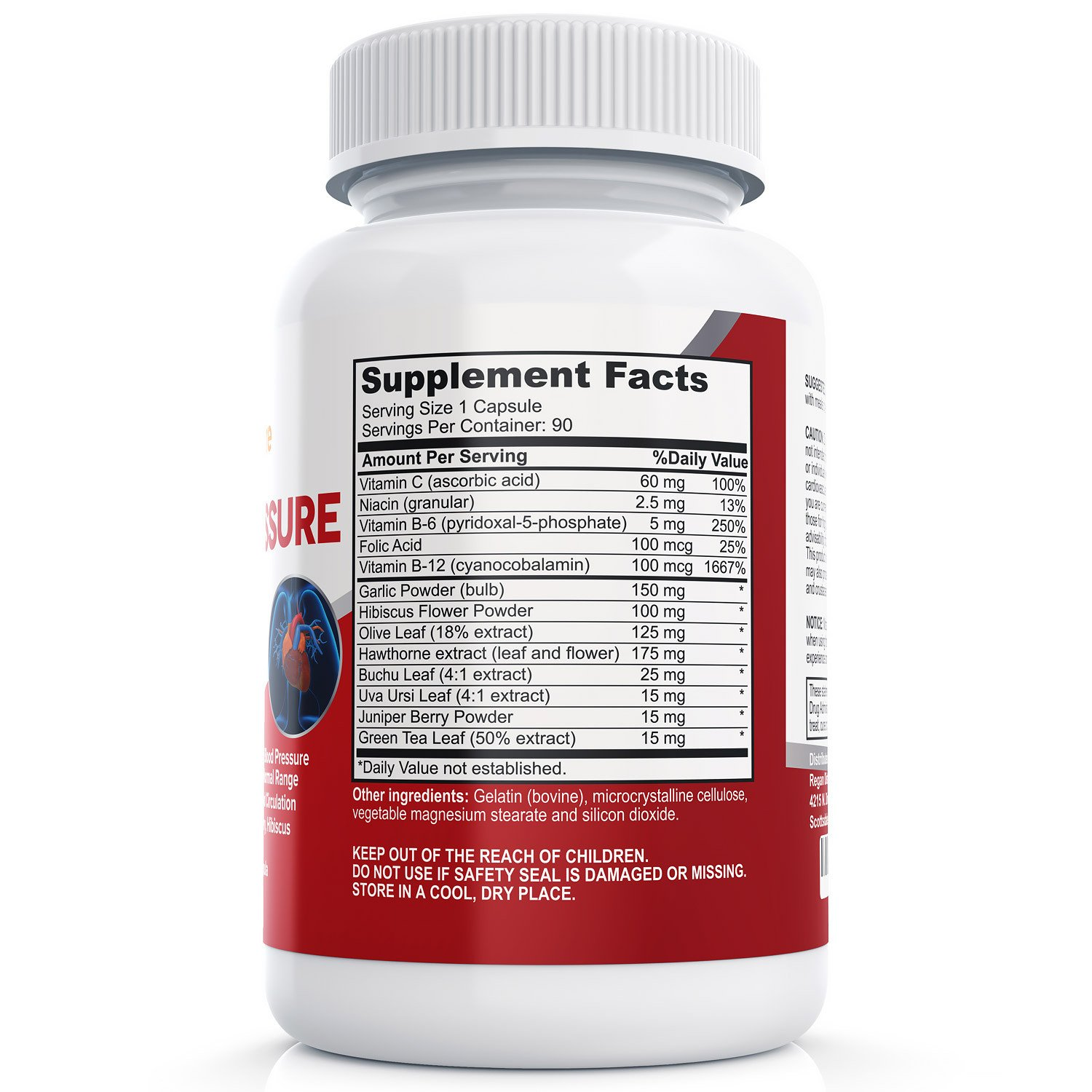 Blood Pressure Support 90 Caps - Includes Hawthorn Berry, Hibiscus, & Garlic (Non-GMO)
