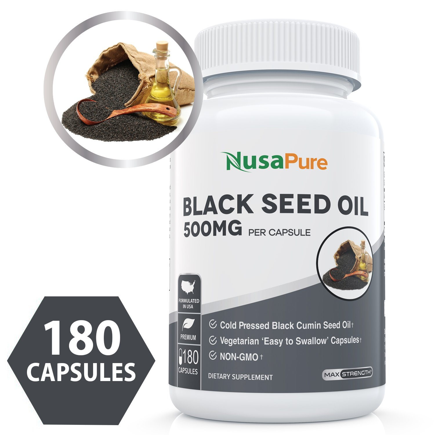 Black Seed Oil 1000 mg- 180 Softgels (Non-GMO, Vegetarian) Made from Cold Pressed Nigella Sativa.