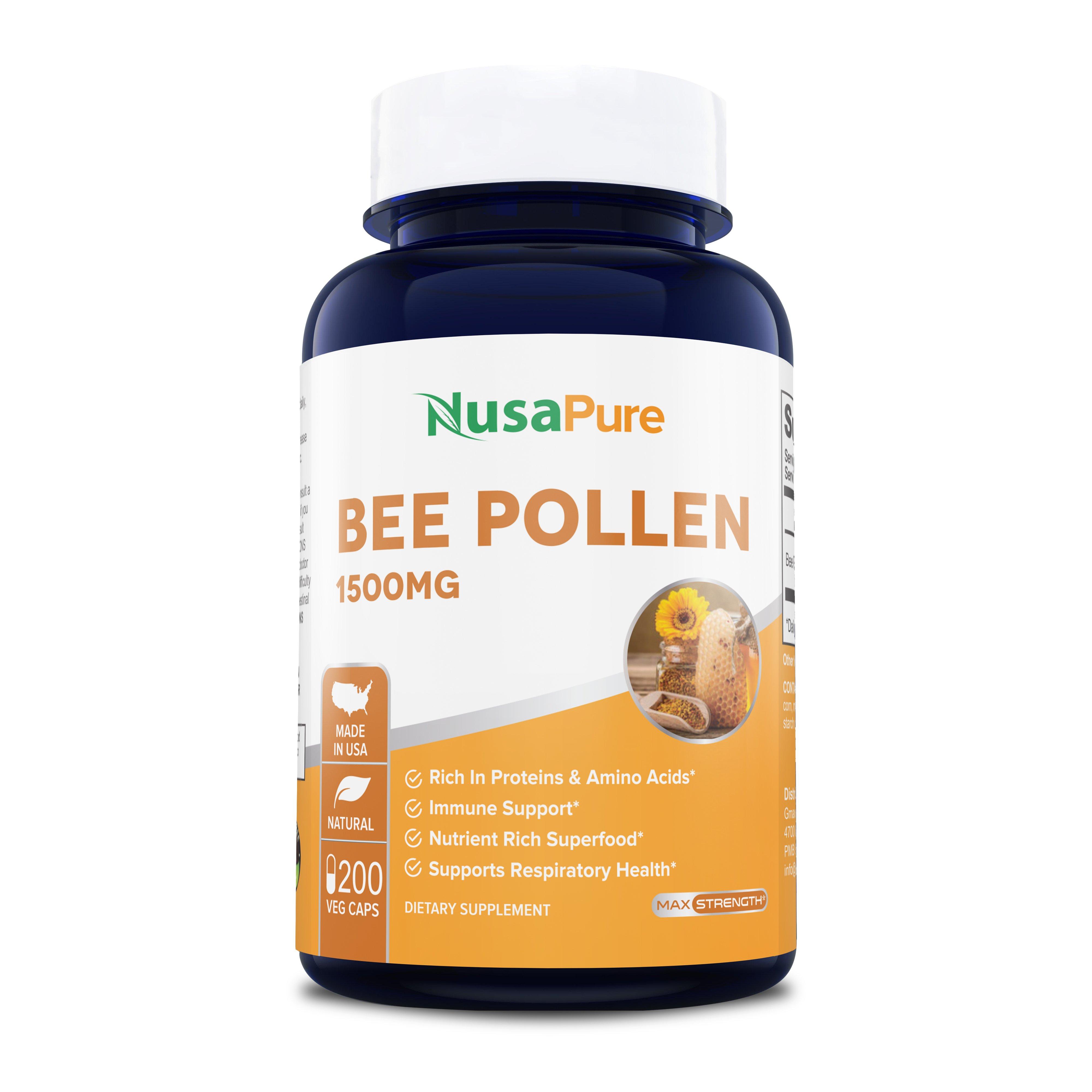 Bee Pollen 1500 mg -  200 Veg Caps (Vegetarian, Non-GMO & Gluten-free)