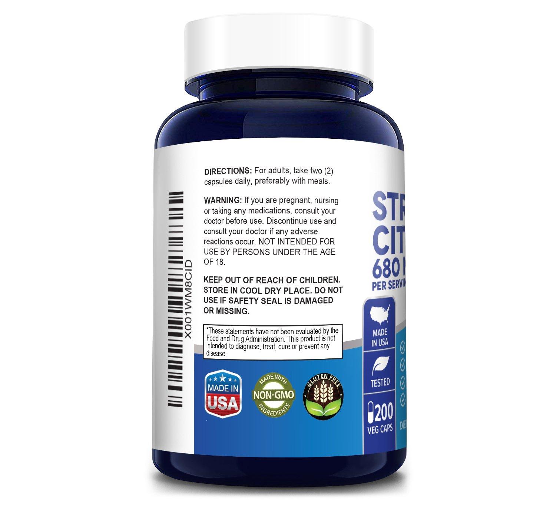 Strontium Citrate 680 mg - 200 Veg Caps (100% Vegetarian, Non-GMO & Gluten-free)