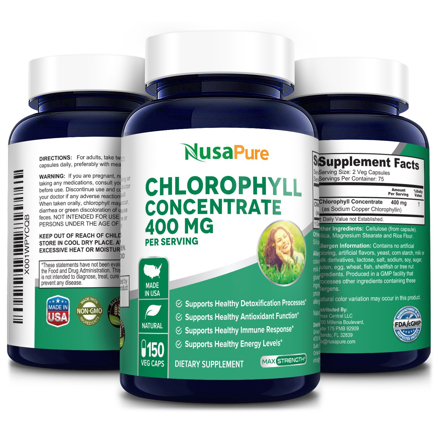 Chlorophyll Concentrate 400 mg -150 Veg Caps (100% Vegetarian, Non-GMO & Gluten-free)