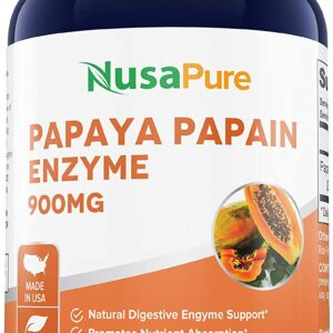 Papaya Papain Enzyme 900 mg - 200 Veg Caps (100% Vegetarian, Non-GMO & Gluten-free)