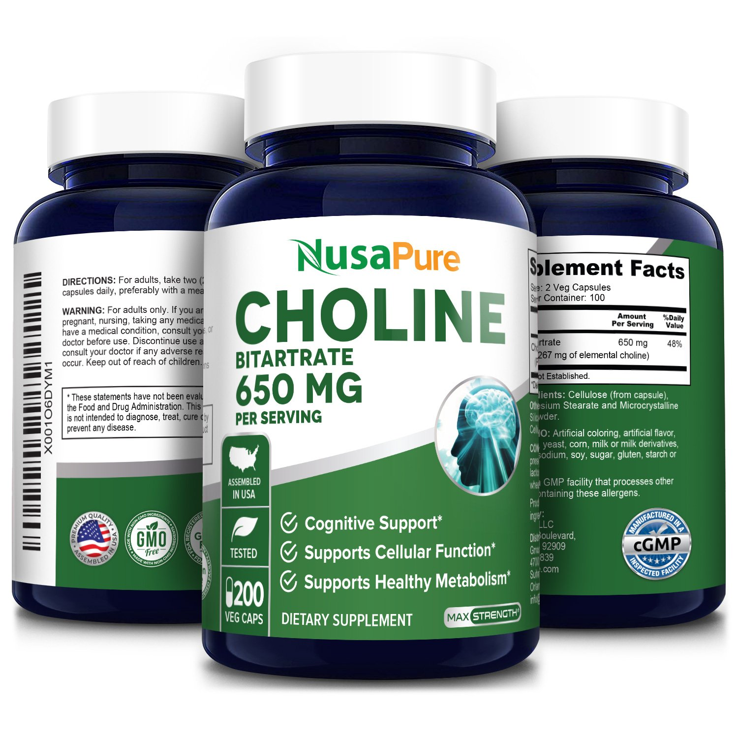 Choline Bitartrate 650 mg - 200 Veg Caps (100% Vegetarian, Non-GMO & Gluten-free)