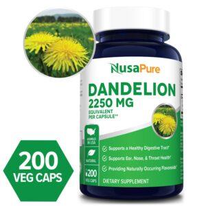 Dandelion  2,250 mg - 200 Veg Caps (100% Vegetarian, Non-GMO & Gluten-free)