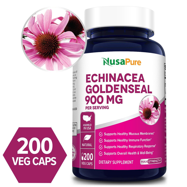 Echinacea Goldenseal 900 mg - 200 Veg Caps (100% Vegetarian, Non-GMO & Gluten-free)