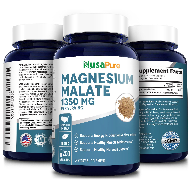 Magnesium Malate 1350 mg - 200 Veg Caps (100% Vegetarian, Non-GMO & Gluten-free)