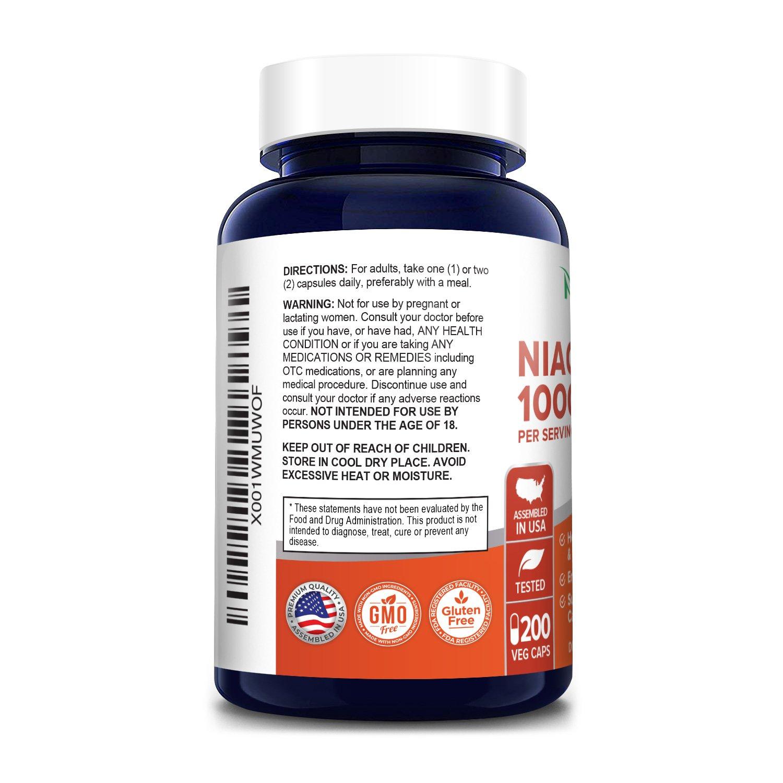 Niacinamide 1000 mg- 200 Veg Caps (100% Vegetarian, Non-GMO & Gluten-free)