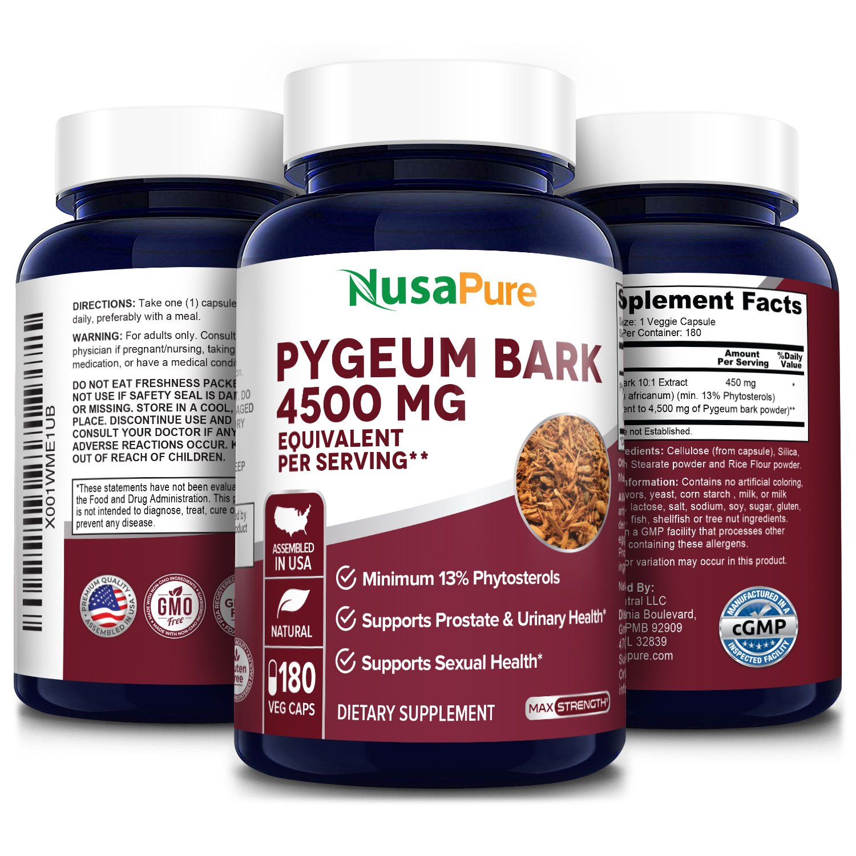 Pygeum Bark Extract 4500 mg -180 Veg Caps (100% Vegetarian, Non-GMO & Gluten-free)