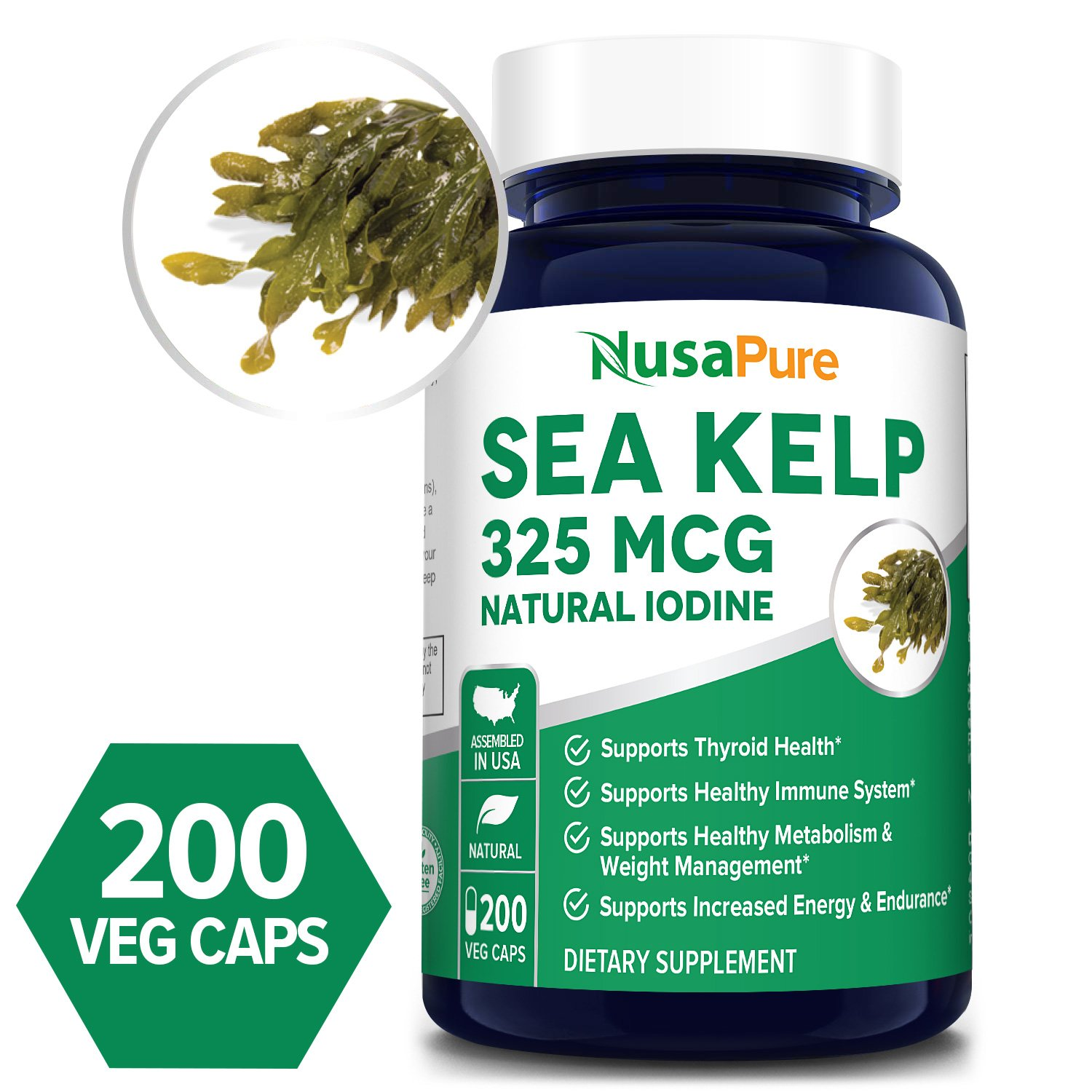 Sea Kelp 325 mcg - 200 Veg (100% Vegetarian, Non-GMO & Gluten-free) Manufactured with organic kelp