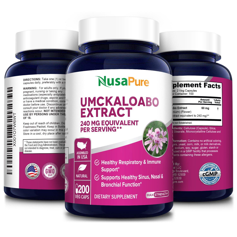 Umckaloabo Extract 240mg -  200 Veg Caps (100% Vegetarian, Non-GMO & Gluten-free)