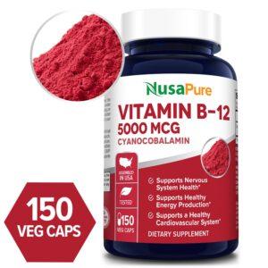 Vitamin B12 5000 MCG -150 Veg Caps (100% Vegetarian, Non-GMO & Gluten-free)