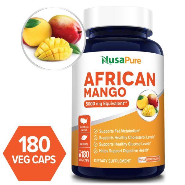African Mango Extract 5000 mg -180 Veg Caps (Vegetarian,Non-GMO & gluten-free)