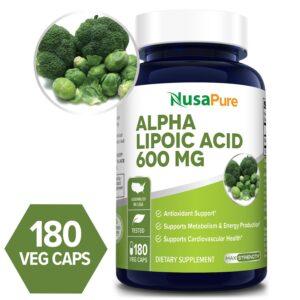 Alpha Lipoic Acid 600mg - 180 Veg Caps ( 100 % Vegetarian, Non-GMO & Gluten-free)