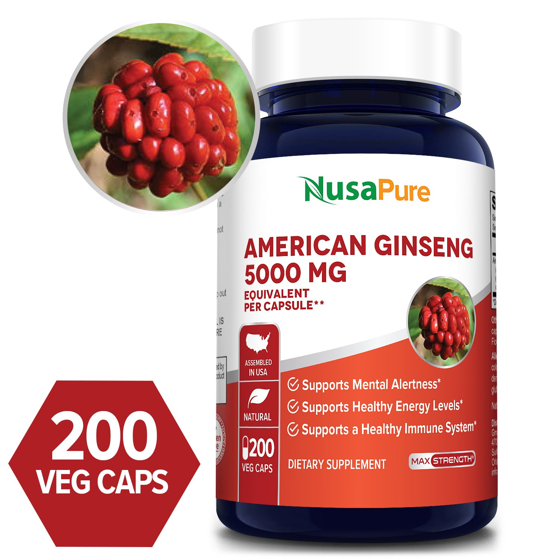 American Ginseng 5000mg - 200 Veg Caps (100% Vegetarian, Non-GMO & Gluten-free)
