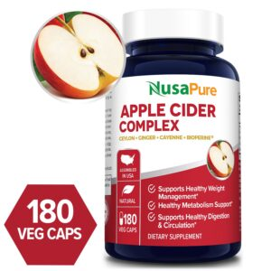 Apple Cider complex with Bioperine and organic apple cider vinegar powder - 180 Veg Caps (Vegetarian, Non-GMO & Gluten-free)