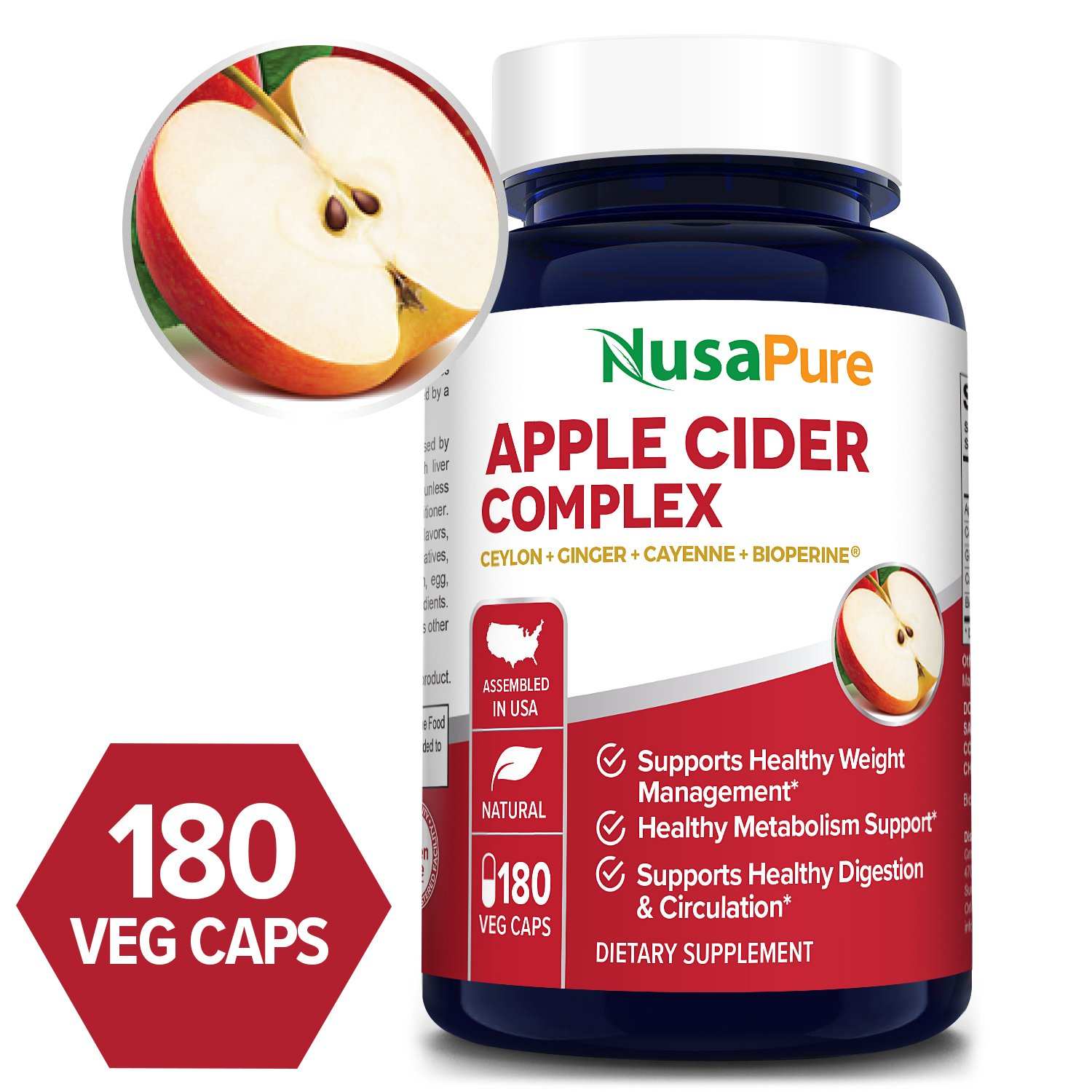 Apple Cider complex with Bioperine and organic apple cider vinegar powder - 180 Veg Caps (Vegetarian, Non-GMO & Gluten-free)