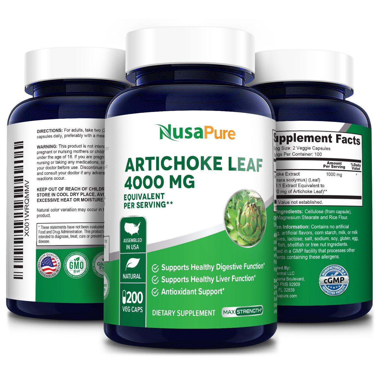 Artichoke  Leaf Extract 4000 mg - 200 Veg Caps (Vegetarian, Non-GMO, Gluten-free)