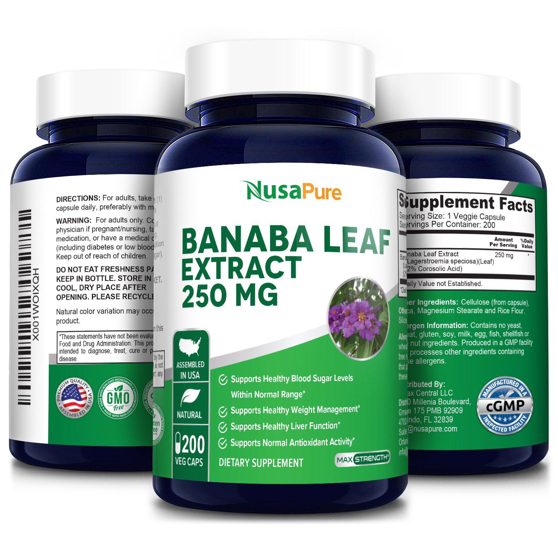 Banaba Leaf Extract 250 mg - 200 Veg Caps 200 days supply. (Non-GMO & Gluten Free) 2% Corosolic Acid