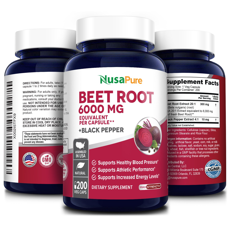 Beet Root 6000 mg - 200 Veg Caps (Vegetarian, Non-GMO & Gluten Free) with Black Pepper