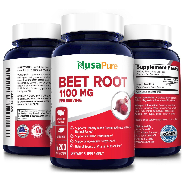 Beet Root 1100 mg - 200 Veg Caps (Organic beet root powder, Vegetarian, Non-GMO & Gluten-free)