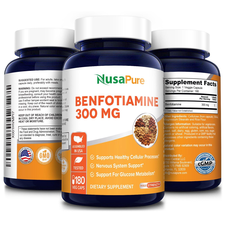 Benfotiamine 300 mg- 180 Veg Caps (Vegetarian, Non-GMO and gluten-free)