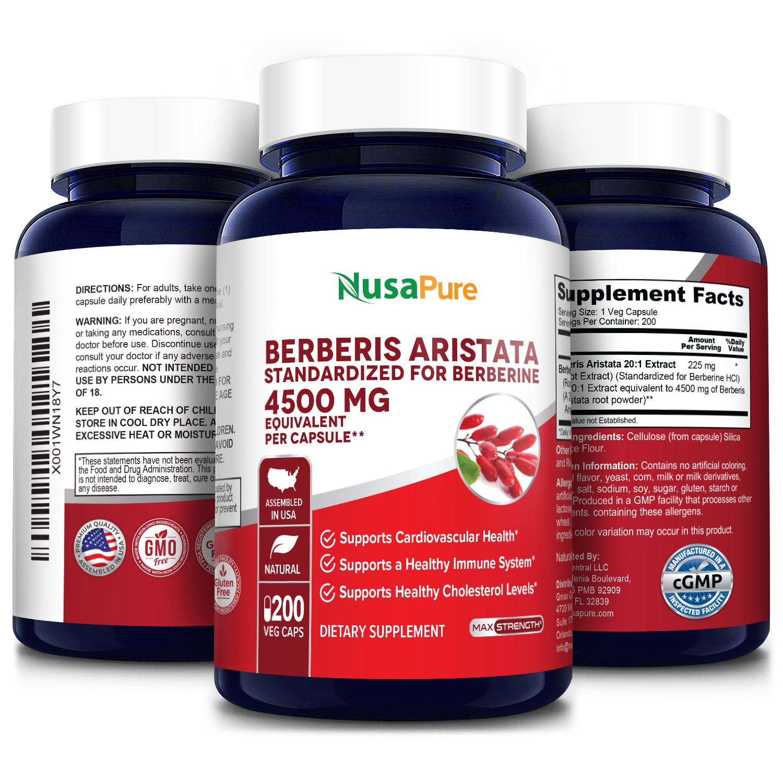 Berberine HCI 4500 mg - 200 Veg Caps (100% Vegetarian, Non-GMO & Gluten-free)