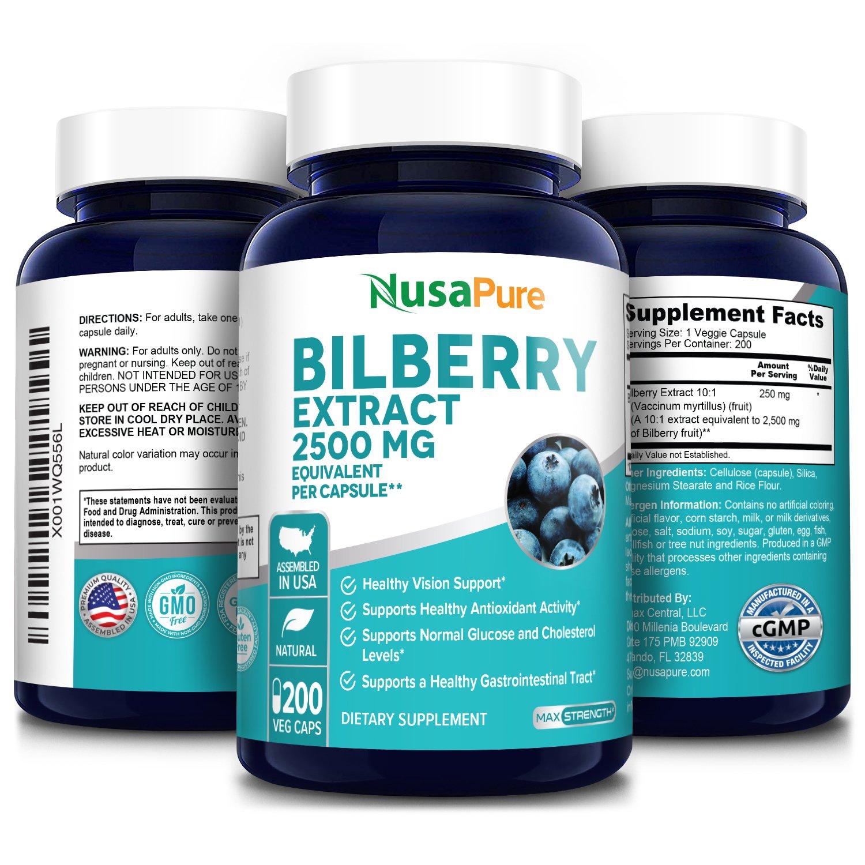 Bilberry Extract 2500 mg -200 Veg Caps (100% Vegetarian, Non-GMO & Gluten-free)
