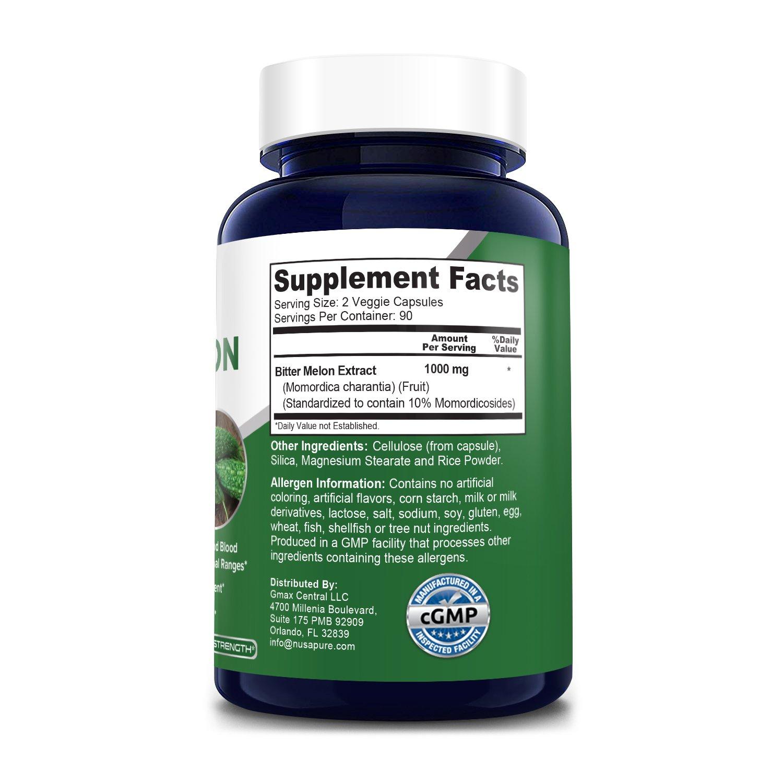 Bitter Melon Extract 1000 mg-180 Veg Caps (100% Vegetarian, Non-GMO & Gluten-free)