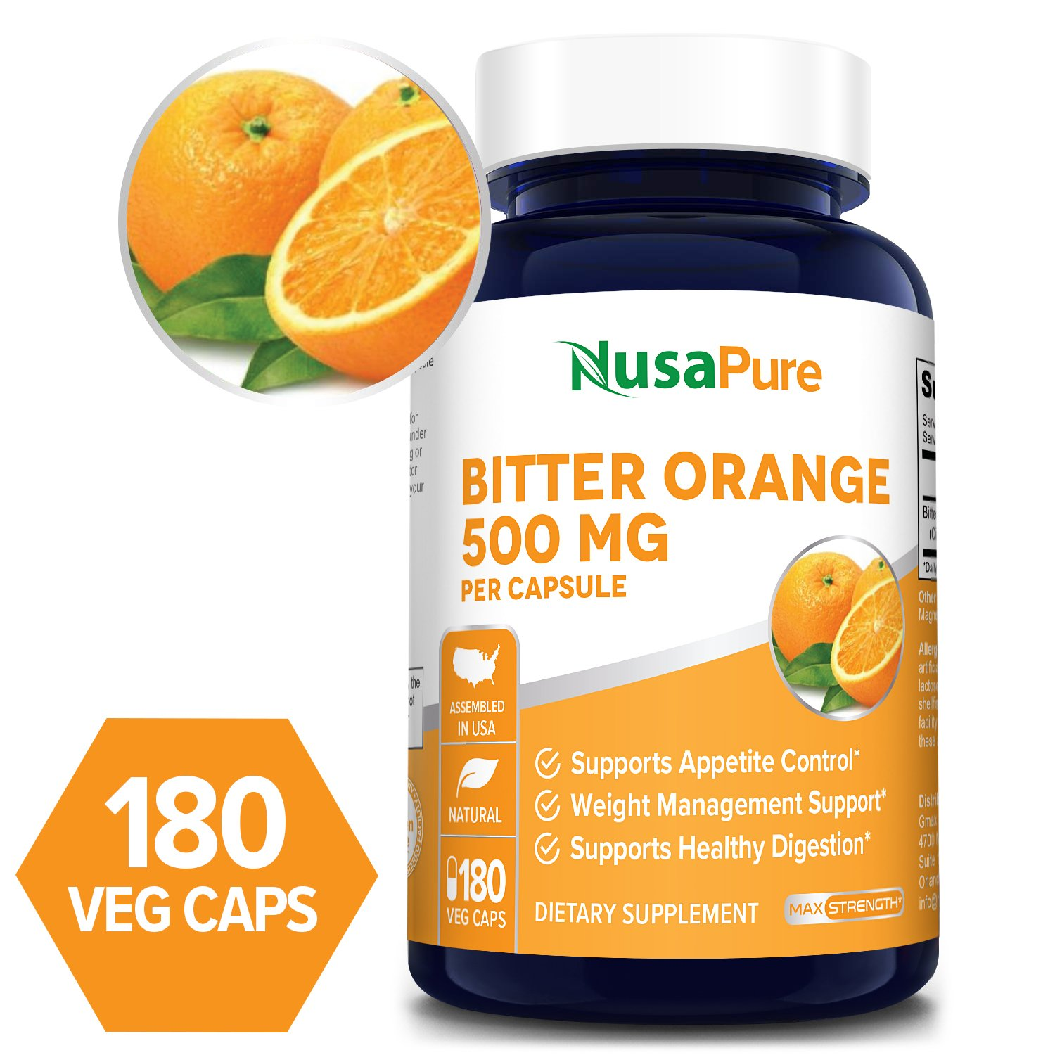 Bitter Orange 500 mg - 180 Veg Caps (Vegetarian,Non-GMO & Gluten-free)
