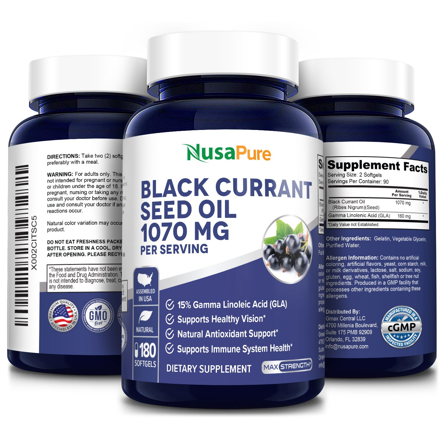 Black Currant seed Oil 1070 Mg with 15% GLA - 180 softgels (Non-GMO and Gluten-free)