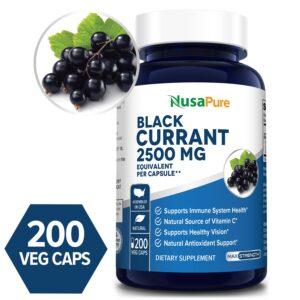 Black Currant Oil 2500 Mg -  200 Veg Caps (Vegetarian, Non-GMO and Gluten-free)
