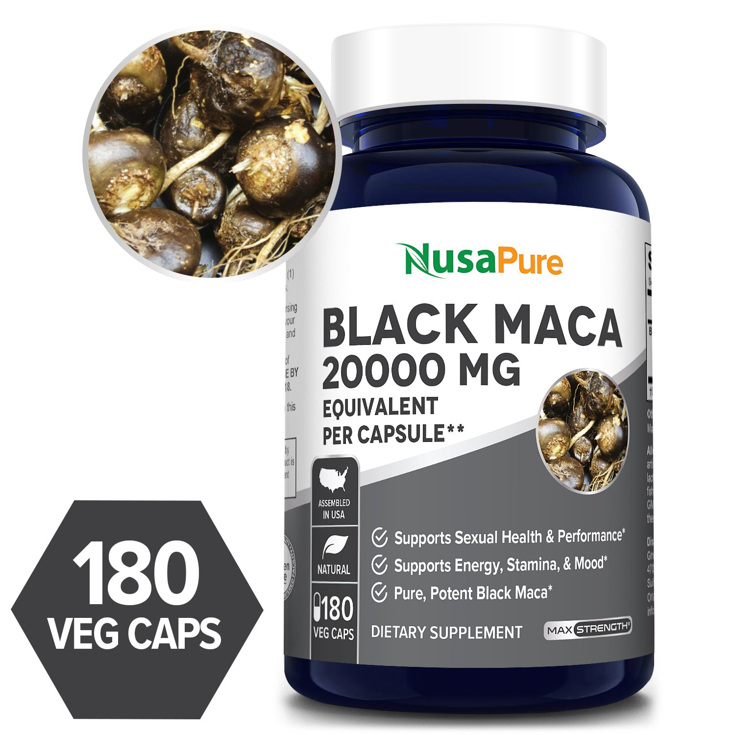 Black Maca Root extract 20,000mg - 180 Veg Caps (100% Vegetarian, Non-GMO, Gluten-free)