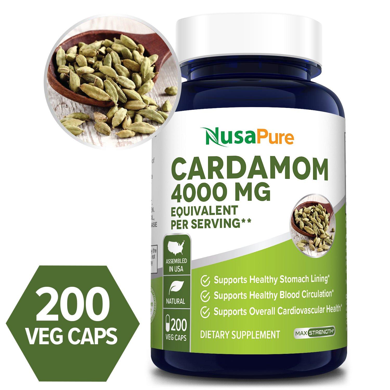 Cardamom Extract  4000 mg- 200 Veg Caps (100% Vegetarian, Non-GMO & Gluten-free)