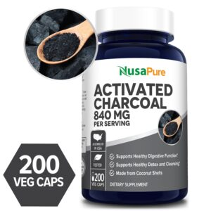 Activated Charcoal 840 mg- 200 Veg Caps (100% Vegetarian, Non-GMO & Gluten-free)