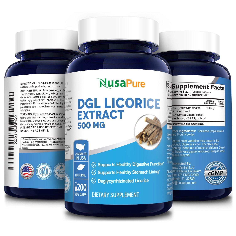 DGL Licorice 500 mg-  200 Veg Caps (100 % Vegetarian, Non-GMO & Gluten-free)