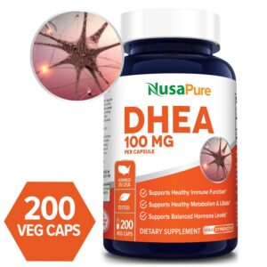 DHEA  100mg - 200 Veg Caps (100% Vegetarian, Non-GMO & Gluten-free)