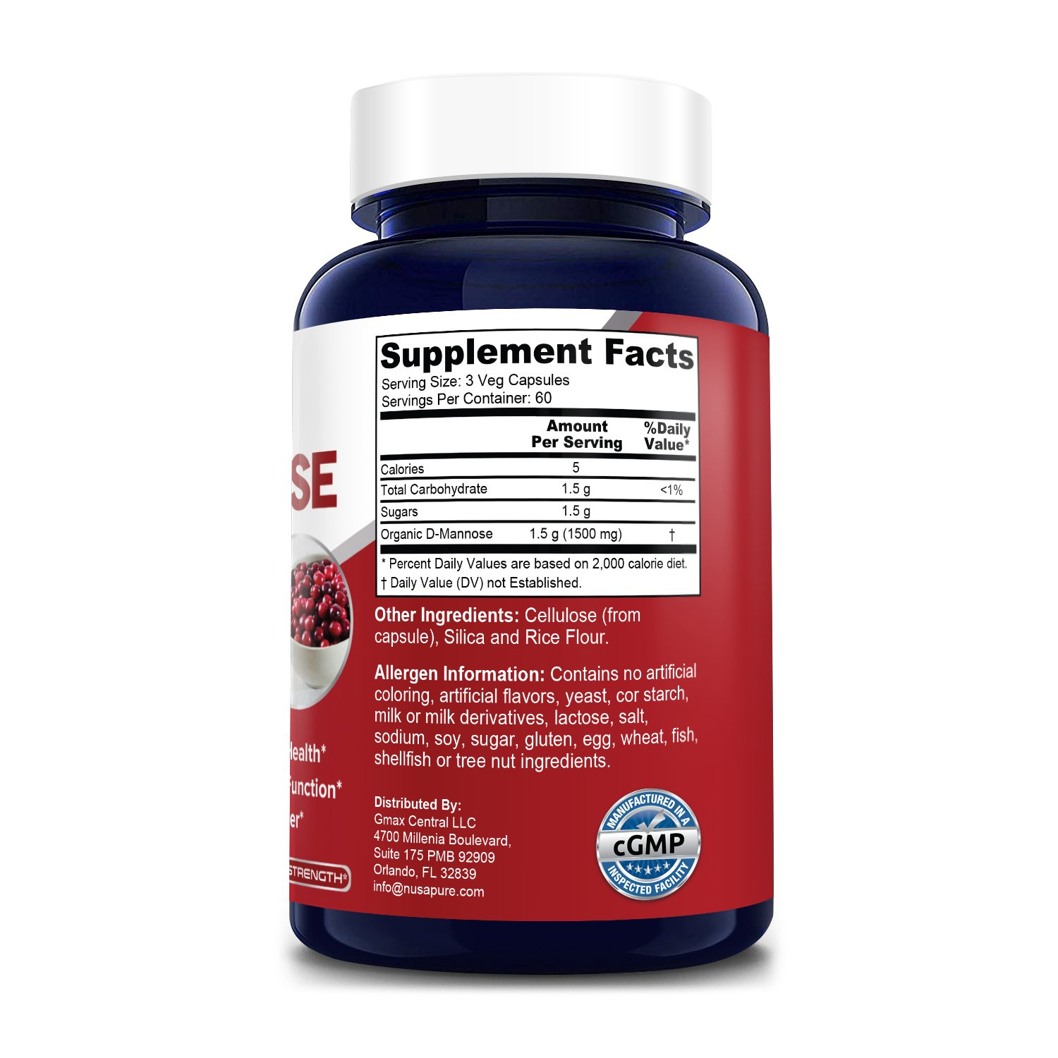 D-Mannose 1500 mg- 180 Veg Caps (100% Vegetarian, Non-GMO & Gluten-free. With Organic D-Mannose