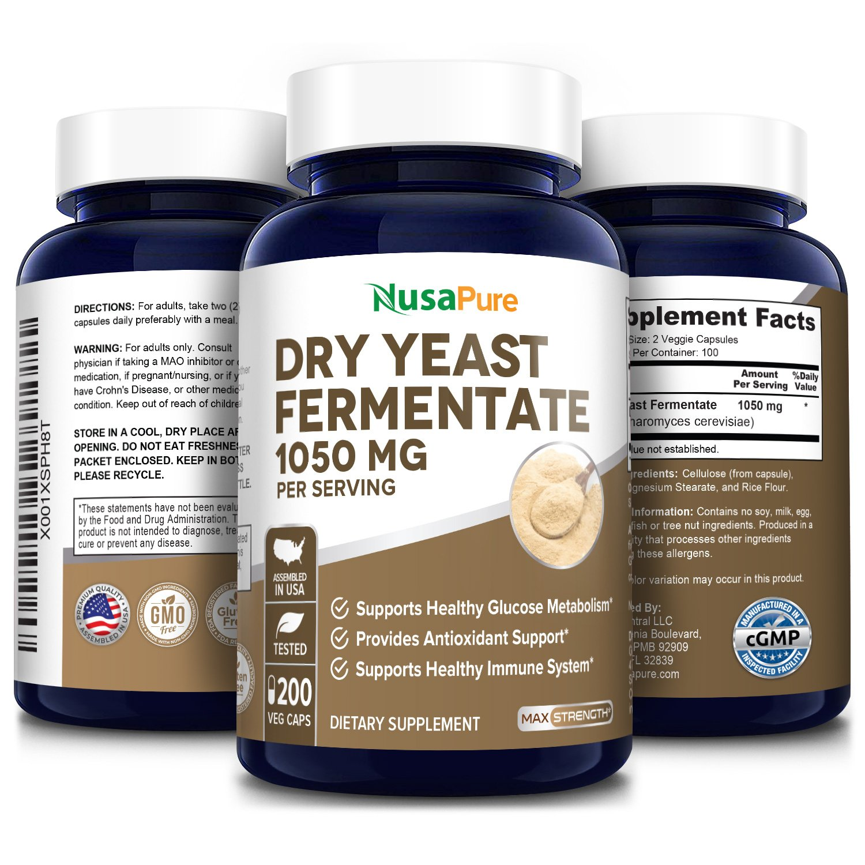 Dry Yeast Fermentate 1050 mg - 200 Veg Caps  (100% Vegetarian, Non-GMO & Gluten-Free)