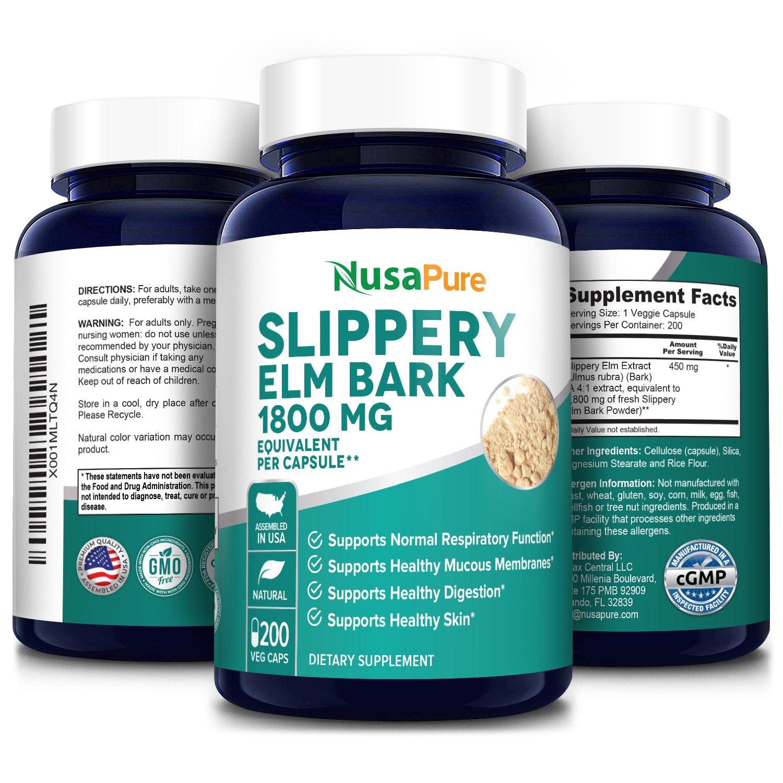 Slippery Elm Bark 1800 mg- 200 Veg Caps (100% Vegetarian, Non-GMO & Gluten-free)