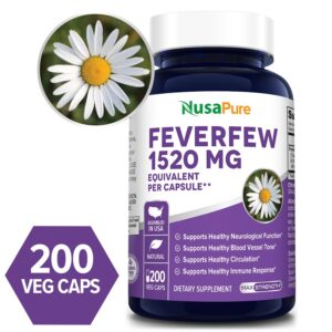 Feverfew  1520 mg - 200 Veg Caps (100% Vegetarian, Non-GMO & Gluten-free)