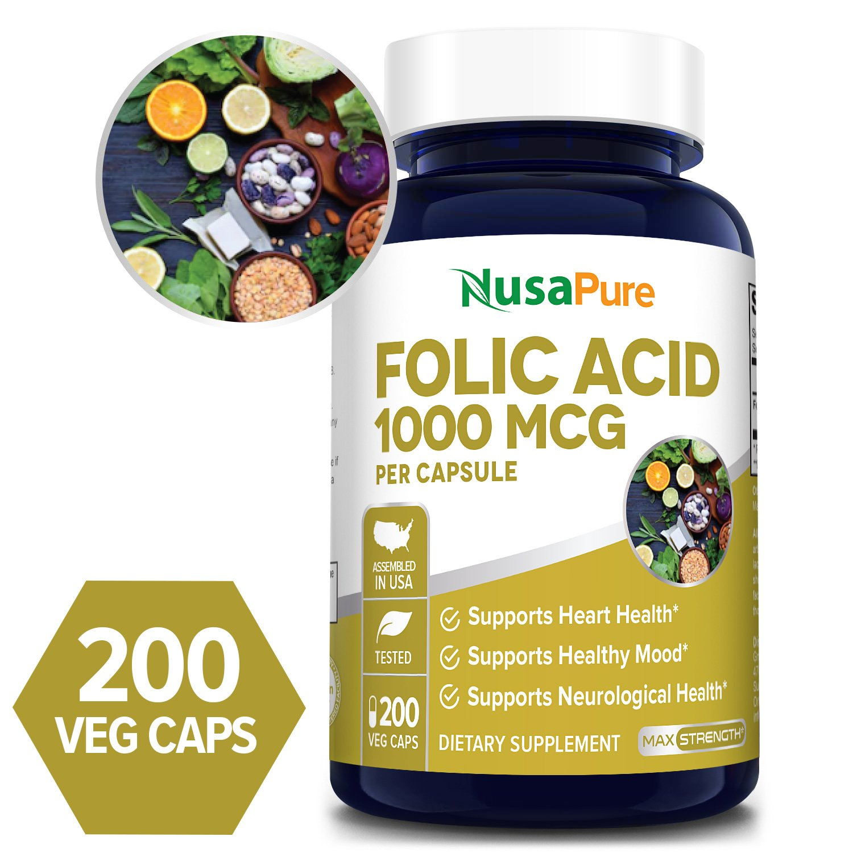 Folic Acid 1000 mcg - 200 Veg Caps (100% Vegetarian, Non-GMO, & Gluten-free)