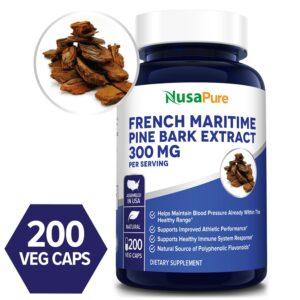 French Maritime Pine Bark 300 mg - 200 Veg Caps(100% Vegetarian,Non-GMO & Gluten-free)