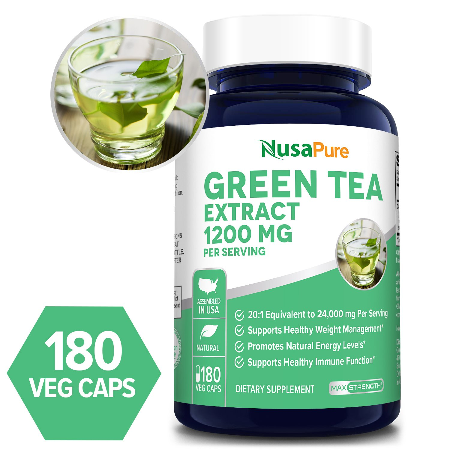 Green Tea Extract 1200 mg - 180 Veg Caps (100% Vegetarian, Non-GMO & Gluten-free)