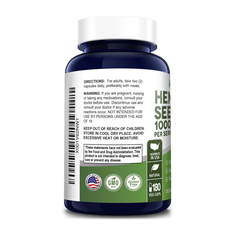 Hemp Seed Oil 1000 mg- 180 Veg Caps-Made with ORGANIC Hemp Seed Oil (100% Vegetarian, Non-GMO, Gluten-free)