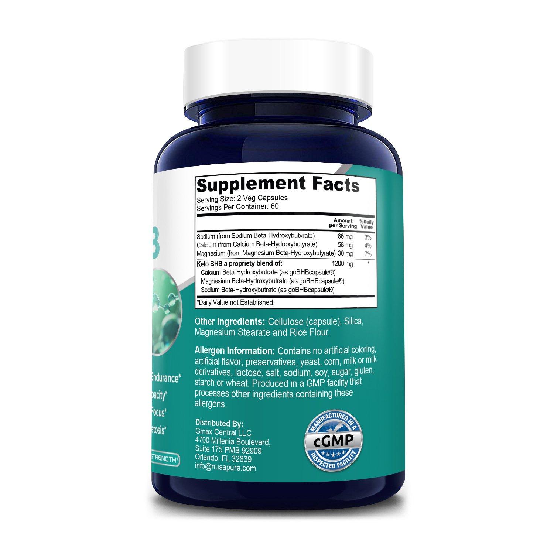 Keto BHB 1200 mg -120 Veg Caps (100% Vegetarian, Non-GMO, Gluten-free)
