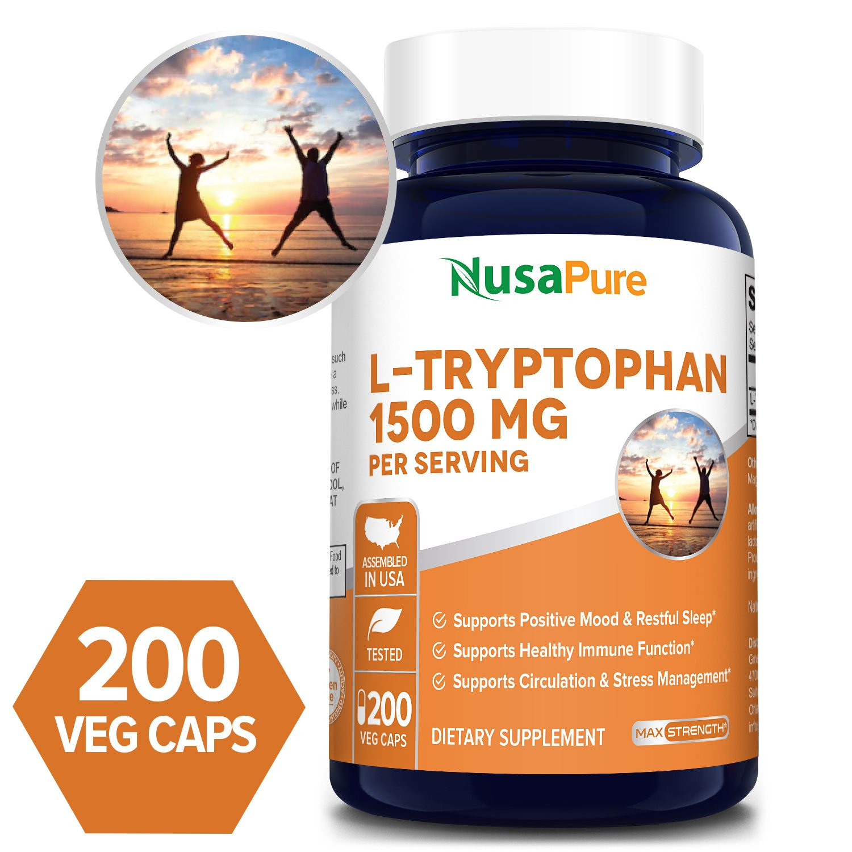 L-Tryptophan 1500 mg - 200 Veg Caps (100% Vegetarian, Non-GMO & Gluten-free)