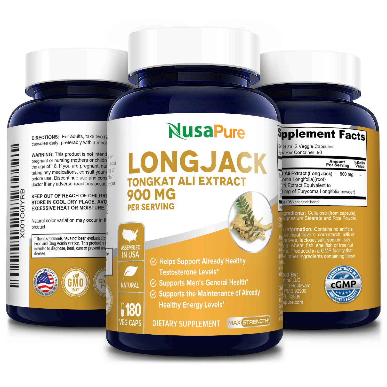 Longjack Tongkat Ali Extract 900 mg - 180 Veg Caps (100% Vegetarian, Non-GMO & Gluten-free)