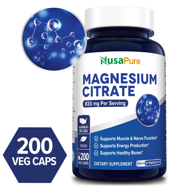 Magnesium Citrate 833 mg - 200 Veg Caps (Vegetarian, Non-GMO & Gluten-free)