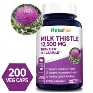 Milk Thistle Seed 12500mg- 200 Veg Caps (100% Vegetarian,Non-GMO, Gluten-free)