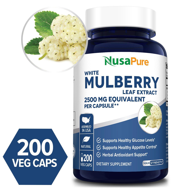 White Mulberry Leaf 2500mg - 200 Veg Caps (100% Vegetarian, Non-GMO & Gluten-free)
